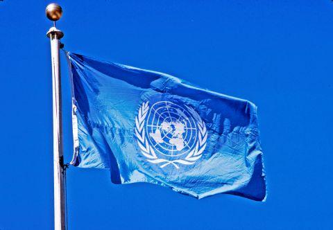 un-flag-flying-pole-blue-sky-behind-it6082