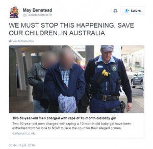 Australia: un 'padre' viola a su bebé de 10 meses con su amante.