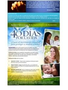 Comunidad hispanoamericana …¡ Los 40 días por la vida comienzan mañana!